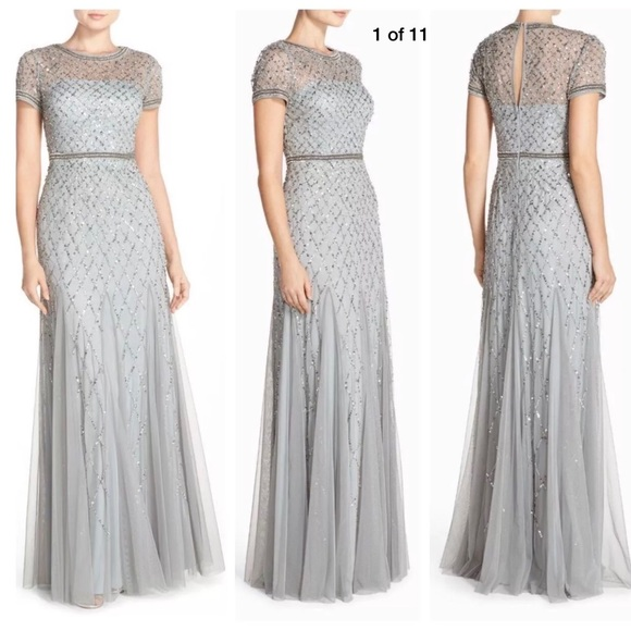 Adrianna Papell Dresses & Skirts - New Adrianna Papell beaded mesh gown in blue mist